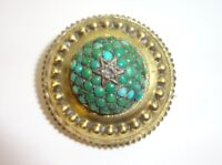 Antique Etruscan Revival 14K - 15K Gold Turquoise Diamond Mourning Brooch Pin