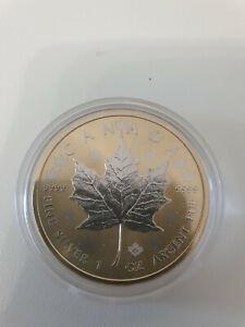 1oz Kanada Maple Leaf vollvergoldet 2015 in Kapsel