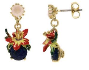 Les Nereides 14ct Gold Plated Enamel Flower and blue Stone Earrings  - NEW