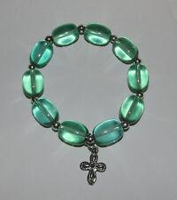 Green Beads Stretchy Bracelet New Cross Charm Silver Tone Stretch Jewelry