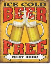 Free Beer Next Door Party Beer College Funny Humor Wall Decor Metal Tin Sign New