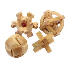 4x Puzzle 3D Casse-tête Chinois En Bois Jouet Jeu Cadeau Pour Enfant Cube Toy