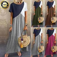 New Women Summer Boho Casual Splicing Maxi Dresses Short Sleeve Loose Long Dress