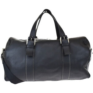 Authentic LOEWE Travel 2Way Hand Bag Canvas Leather Black Silver Spain 37BS152