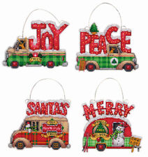 Cross Stitch Kit ~ Dimensions Set of 4  Holiday Truck XMAS Ornaments #70-08974
