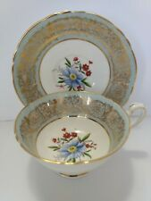 PARAGON CUP SAUCER, WIDE MOUTH,FLORAL BOUQUET MADE IN ENGLAND
