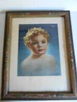 "Antique Vintage ""1935 A.L. Co. Inc."" Child Print & Nice 1920's Frame"