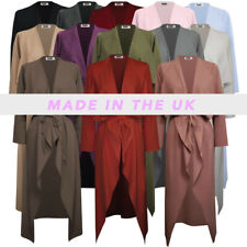 Womens-Ladies-Maxi-Long-Sleeve-Waterfall-Belted-Duster Jacket Coat S/M-XXL