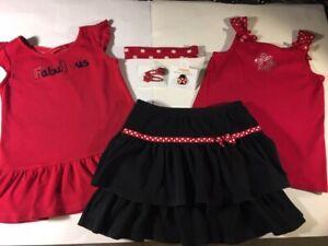 Gymboree Polka dot Ladybug black red skort swing tunic top jewelry hair 9 10
