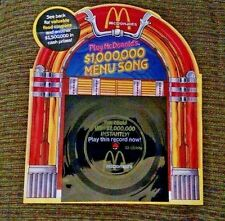 1989 McDonald's $1,000,000 Song Menu Vintage 33 1/3 Record - Advertising