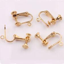 2PCS Gold Alloy Ear Wire Screw Clip On Back Hinged Drop Earrings Hoop Punk