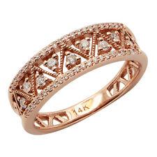 $1536 FINE 14K ROSE GOLD .30C MILGRAIN FILIGREE WEDDING BAND RIGHT HAND RING