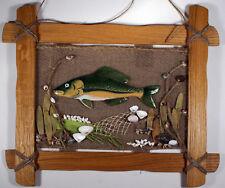 Ceramic fish in oak frame