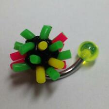 316L Surgical Steel Belly Ring with Green, Yellow, Pink UV Kosh Ball