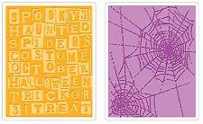 Sizzix Halloween Words & Cobwebs Emboss 2pk set #656942 Retail $10.99 Retired!