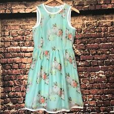 Piperline Dress Floral Shift Womens Small Mint Green Tea Wedding Mothers Day S