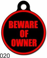 Cute Custom Personalized Pet ID tag for Dog and Cat Round BEWARE Tags Charm colo