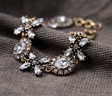 Vintage Style Crystal Glass Flower Bronze Cuff Bracelet Chain