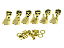Gold Lefty 6L Guitar Tuners Tuning Keys Pegs Machine Heads w/ Skull Buttons