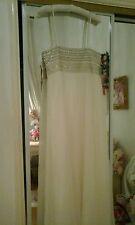 Monsoon Mariage Blanc Long Maxi pinceaux robe avec étincelait perles cou détails
