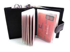 Calidad De Cuero Real Negro Suave portatarjetas de crédito billetera cartera posee 24 Tarjetas