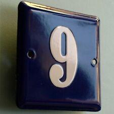 HAUSNUMMER 9 oder 6 => Altes Emailschild um 1955 MAKELLOS Haustür Türschild FETT