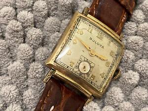 WWII ERA wristwatch BULOVA CARREL cal 10AX  17 jewels  10 K RGP fancy case