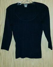 Practical Dressy Black ANN TAYLOR Size XS 3/4 Sleeves Top Rib Knit