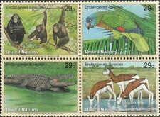 UNO - New York 663-666 Viererblock (kompl.Ausg.) postfrisch 1994 Gefährdete Tier