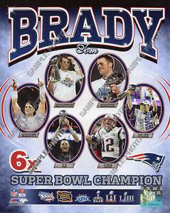 Tom Brady 6X Time Super Bowl Champion New England Patriots Authentic 8x10 Photo