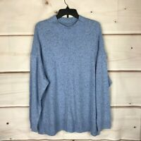 Karen Scott Plus Size Knit Long Sleeve Mock Neck Womens 2X Blue Pullover Sweater