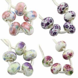 5Pcs Ceramics Flower Big Hole Beads For European Charm Bracelets & Bangles G9