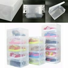 4Pcs Clear Plastic Shoes Boot Box Stackable Foldable Home Storage Organizer US