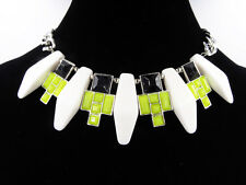 New Curb Chain Statement Necklace with Lime Green,Black & White Stones #N2422