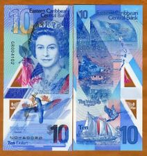 Eastern East Caribbean, $10 ND (2019) New Polymer, QEII redesigned Gem UNC