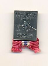 FILA 1939 European Wrestling championships Oslo Norway Official pin badge silver