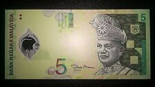Malaysia Five Ringgit RM $ 5 RM5 2004 Polymer Money Banknote P 47 UNC
