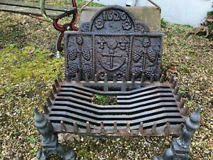 Thick Heavy Cast Iron Fire Back Plate marked 1626 - with Dogs and Basket