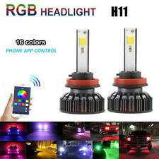 2x RGB H8 H9 H11 72W Car LED Headlight DRL Fog Bulbs Ballast Kit APP Control