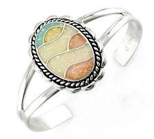 Carolyn Pollack Southwestern Sterling Silver Cuff Bracelet with Mosaic Inlay