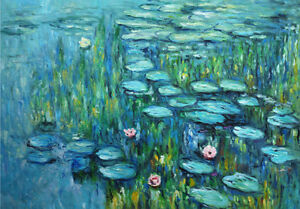 Claude Monet Water Lillies French Flowers Painting Quality Canvas Print A3