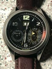 FOSSIL ME1031 MENS BROWN LEATHER STRAP WATCH WITH VISIABLE MOVEMENTS **USED**