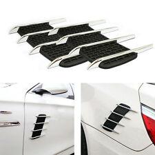 2pcs Silver Chrome Air Flow Shark Side Vent Grilles Hood Exterior Decor Sticker