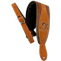 "LM Products 3"" Leather Bass Clef Padded Guitar Strap Brown"