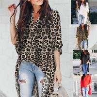 Women V-Neck Irregular Short Sleeve Leopard Print T-Shirt Loose Bat Top Blouses