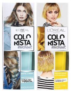 L'Oreal Colorista WashOut Semi-Permanent Hair Colour Dye Shampoo AquaBlue/Yellow