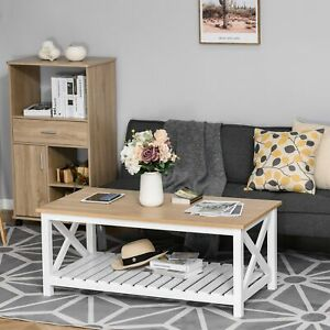 Coffee Table Farmhouse Rustic Vintage Design with Storage Shelf Living Room