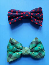 TWO SMALL VALENTINES DAY AND ST. PATRICKS DAY DOG BOW TIES WITH ELASTIC LOOPS