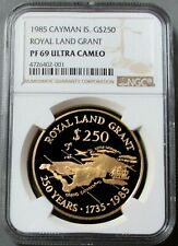 1985 GOLD CAYMAN IS. 250 MINTED (1.4 ozs) NGC PROOF 69 UC $250 ROYAL LAND GRANT