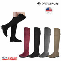 DREAM PAIRS Womens Ladies Over The Knee Boots Thigh High Party Block Flats Boots